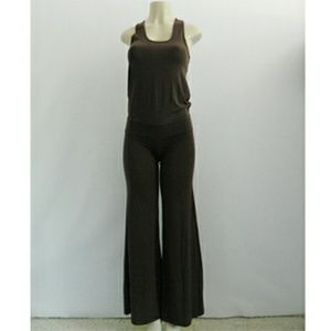 Alice + Olivia Jersey Brown Jumpsuit Flared Legs